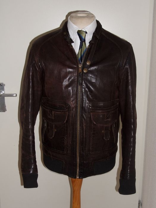 D&G  Dolce & Gabbana - Leather Bomber Jacket - Size: EU 52 (IT 56 - ES/FR 52 - DE/NL 50)