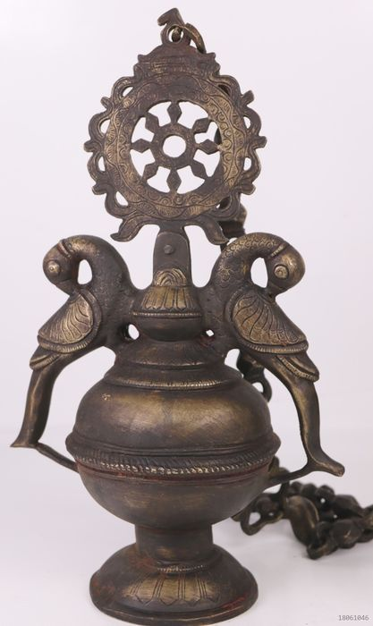 Large hanging oil lamp richly decorated - Bronze - Nepal - Second half 20th century