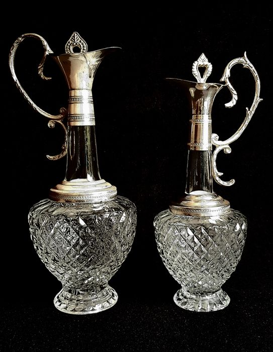 Set of 2 silver-plated Carafe (4) - Glass