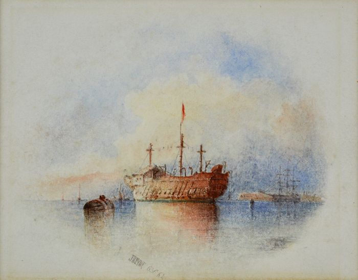 James Baker Pyne. (1800-1870) - The old prison ship hulk.