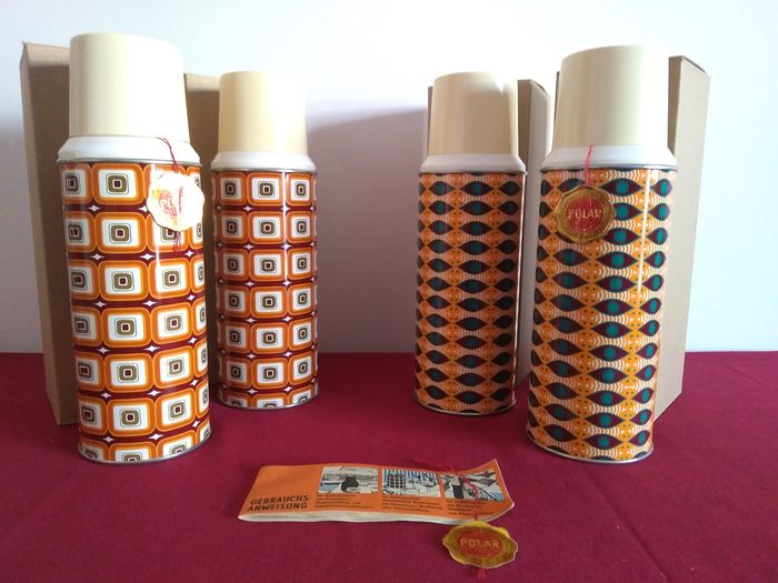POLAR - POLAR (Germania dell'Est) - set of 4 vintage thermos - Modern - Glass - Steel - Colored sheet