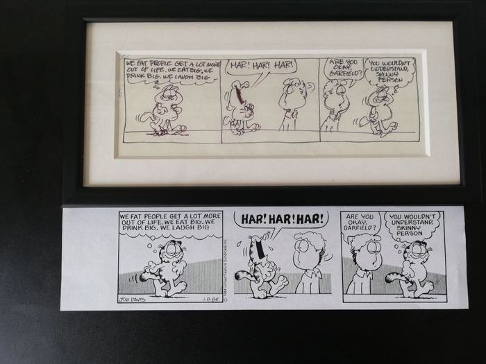 Davis, Jim - original prelim strip art for Garfield  strip January 8th 1985 - matted and framed - Loose page - original art