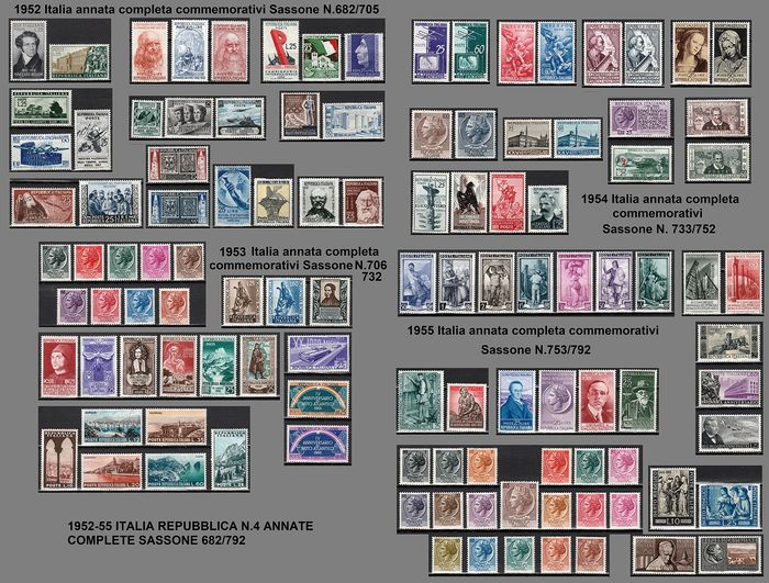 Italy 1952/1955 - Republic nos. 4 full years of commemorative stamps. - Sassone NN. 682/792
