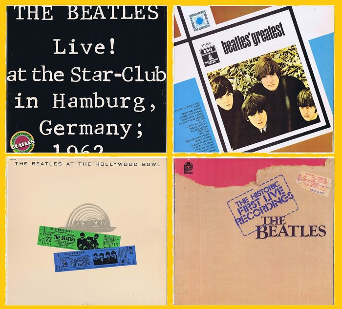 Beatles, 1. The Historic First Live Recordings (2LPs) 2. Live! At The Star-Club In Hamburg (2LPs) - 3. Greatest (LP) 4. The Beatles At The Hollywood Bowl (LP) - Multiple titles - (2x 2LP-sets plus 2x LPs) - 1975/1980
