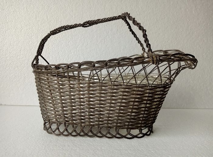 Silver-plated wire basket - bottle holder (1) - silver-plated metal