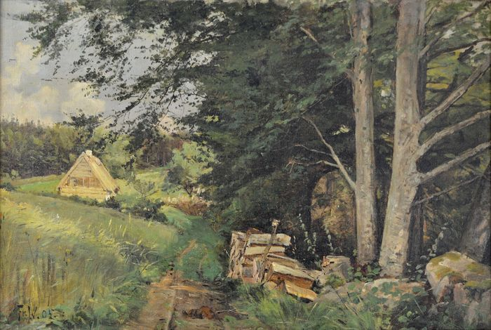 Frederik Julius Augustus Winther. (1853-1916) - Woodland scene with cabin and woodpile