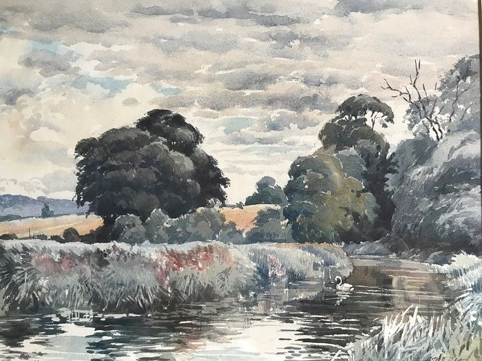 Albert Houghton - Country Scene with River