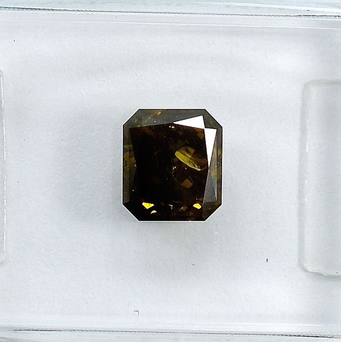 Diamant - 1.01 ct - Cut Cornered Rect.Mod Brilliant - Natural Fancy Deep Greenish Yellowish Brown - I1 - NO RESERVE PRICE