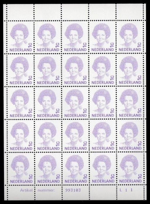 Pays-Bas 1992 - Queen Beatrix, three sheets with 25 pieces - NVPH 1491