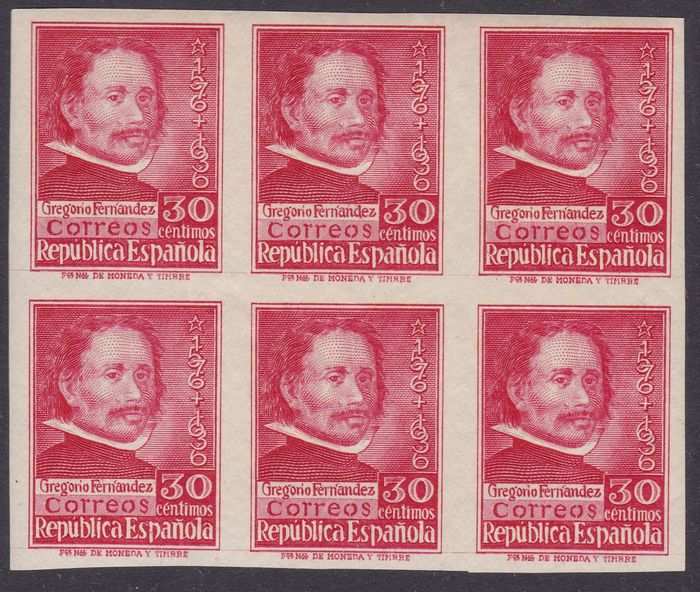 Espagne 1937 - Gregorio Fernández. Block of 6 imperforated stamps - Edifil 726s