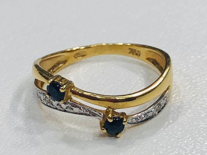 18 kt. Gold, White gold, Yellow gold - Ring Sapphire - Sapphire