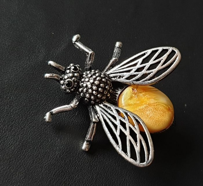 Steel - Natural Baltic Amber - Bee brooch
