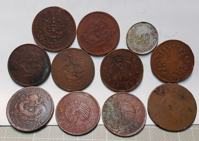China - Lot of 11 coins - Qing dynasty to the Republic of China (early 20 century) - Copper, Silver