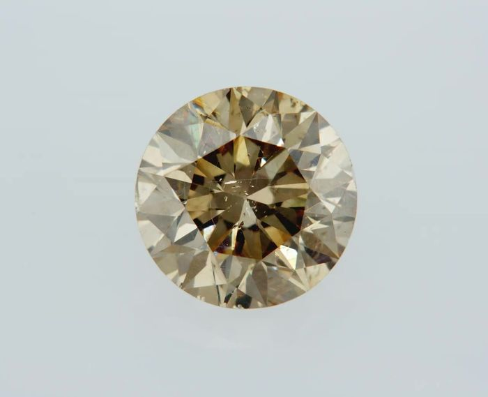 1 pcs Diamond - 1.11 ct - Round - fancy yellowish brown - SI1