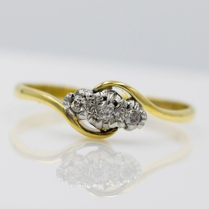 18 carats Or jaune - Bague - 0.09 ct Diamant