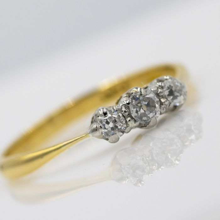 18 kt. Platinum, Yellow gold - Ring - 0.35 ct Diamond