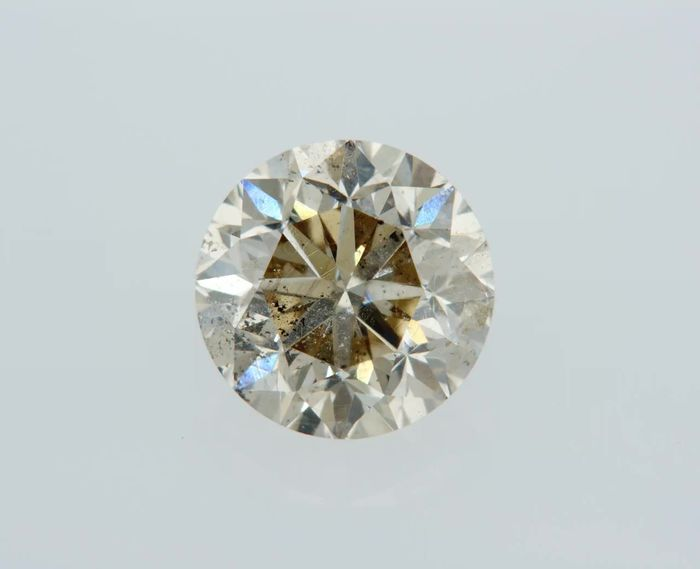1 pcs Diamant - 1.00 ct - Rond - light brown - SI2