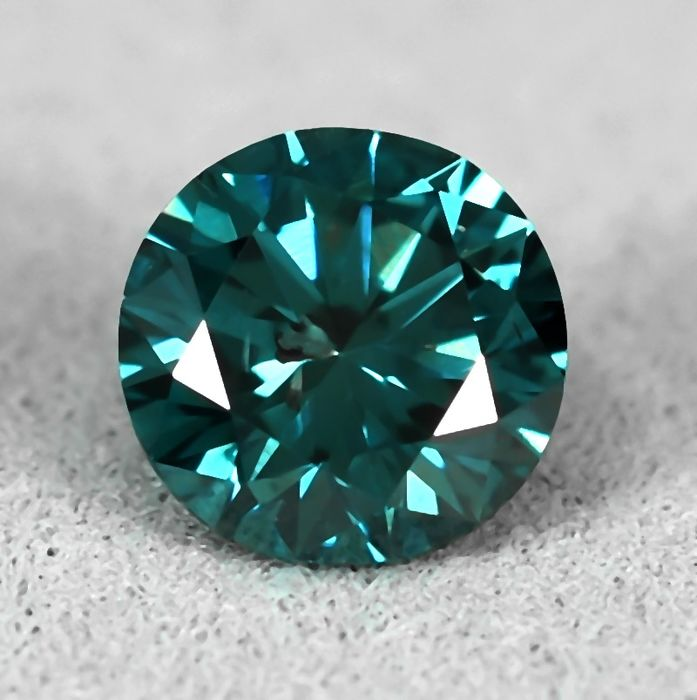 Diamant - 0.85 ct - Briljant - Fancy Vivid Greenish Blue - Si2 - VG/VG/VG