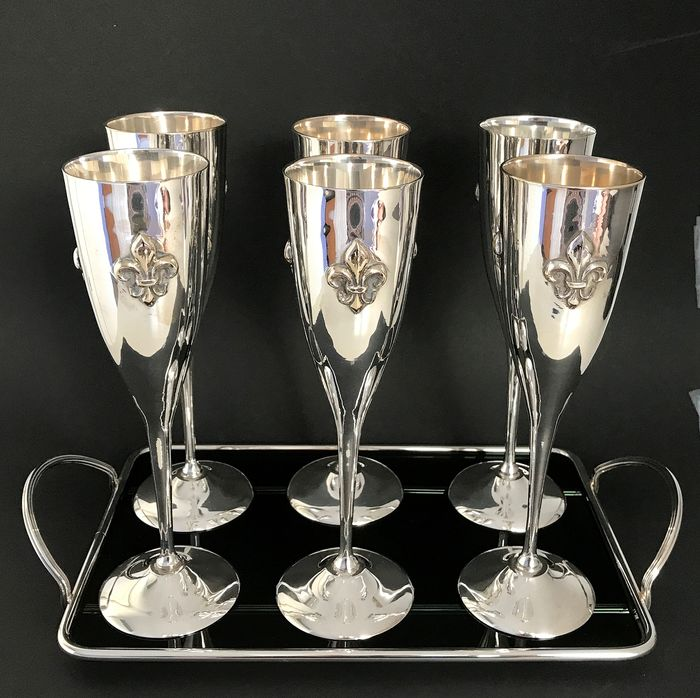 Leaf with 6 wine cellars (7) - silver-plated metal and glass