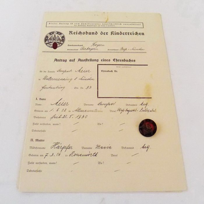 Germany - Reichsbund of the children-rich Germany for the protection of the family (RDK) - Award, Document