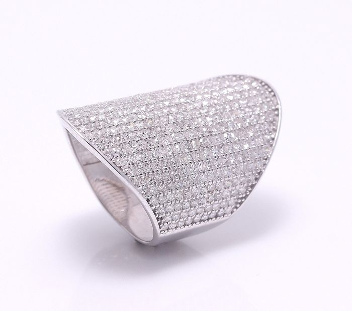 18 kt. White gold - Ring - 4.00 ct Diamond