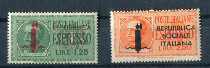 République sociale italienne 1944 - Overprinted express stamps of Genoa issue. - C.E.I. NN. 6Ge- 7Ge