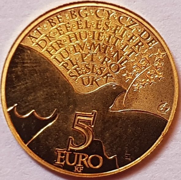 France - 5 Euro 2015 'Europa - Bird - Peace' - with a Certificate of Authenticity - Or