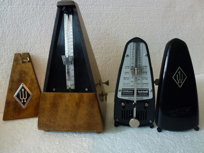 Wittner raditional wooden pyramid metronome with bell & Wittner Taktell Piccolo (2) - Wood Mahogany / plastic