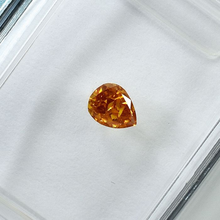 Diamant - 0.22 ct - Birne - Natural Fancy Intense Orange - I1 - NO RESERVE PRICE