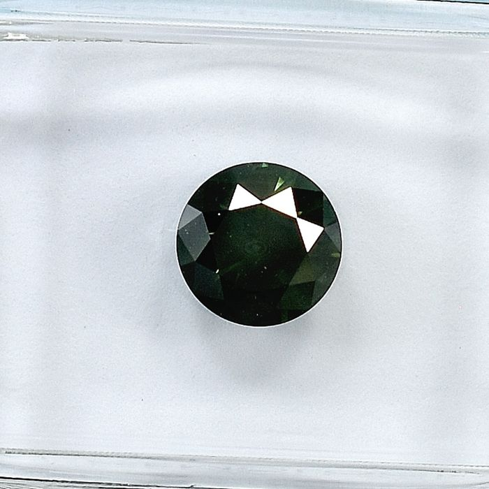 Diamant - 0.99 ct - Brillant - Fancy Deep Yellowish Green - I1