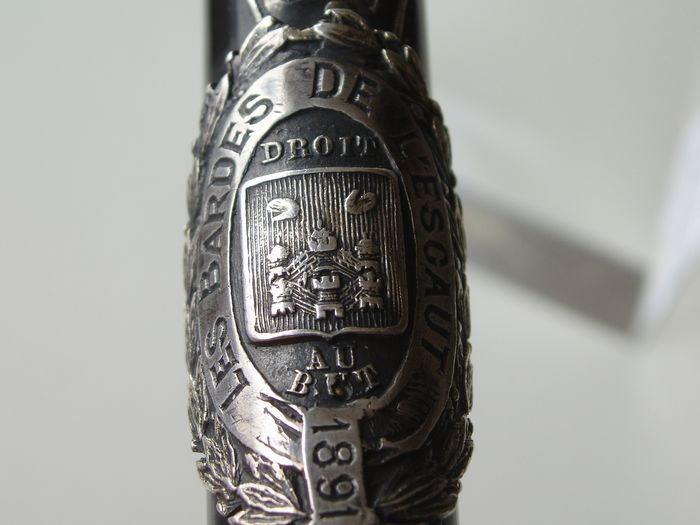 Conductor / Contractor stick with coat of arms (1) - Ebony with silver - France - Late 19th century