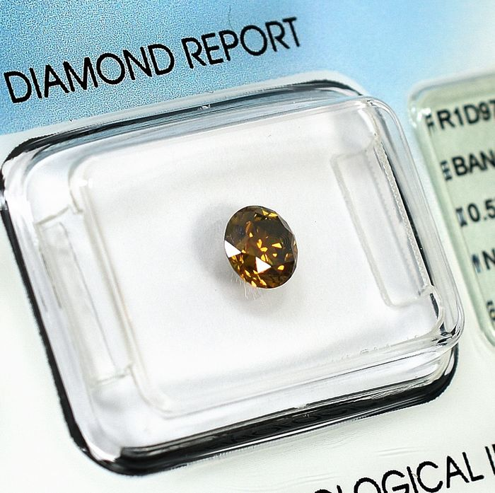 Diamant - 0.57 ct - Brillant - Natural Fancy Deep Brownish Yellow - Si2 - NO RESERVE PRICE