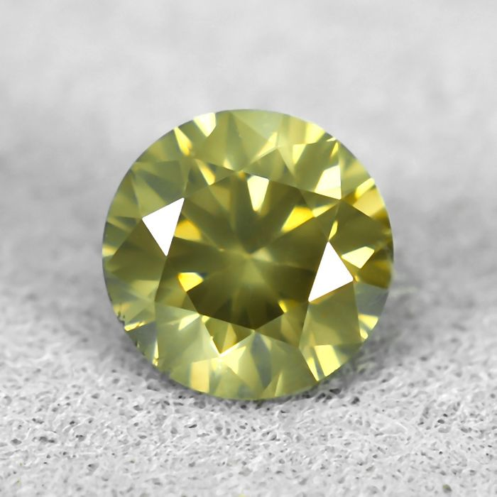 Diamant - 0.41 ct - Briljant - Natural Fancy Vivid Brownish Yellow - Si1 - NO RESERVE PRICE - EXC/EXC/VG