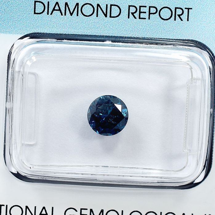 Diamant - 0.80 ct - Brillant - Fancy Deep Blue - I2
