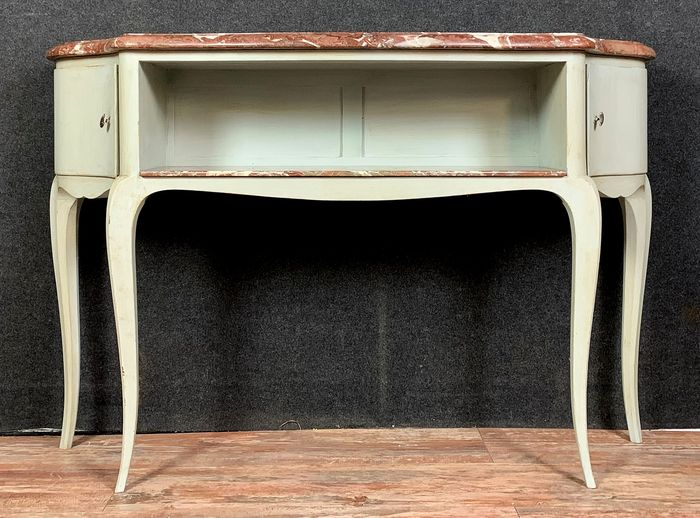 Console table, bookcase cabinet between two curved lacquered wood - Louis XV Style
