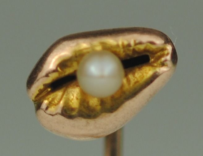 Conch Shell with Pearl - 9K Geel goud - Victoriaanse Stickpin