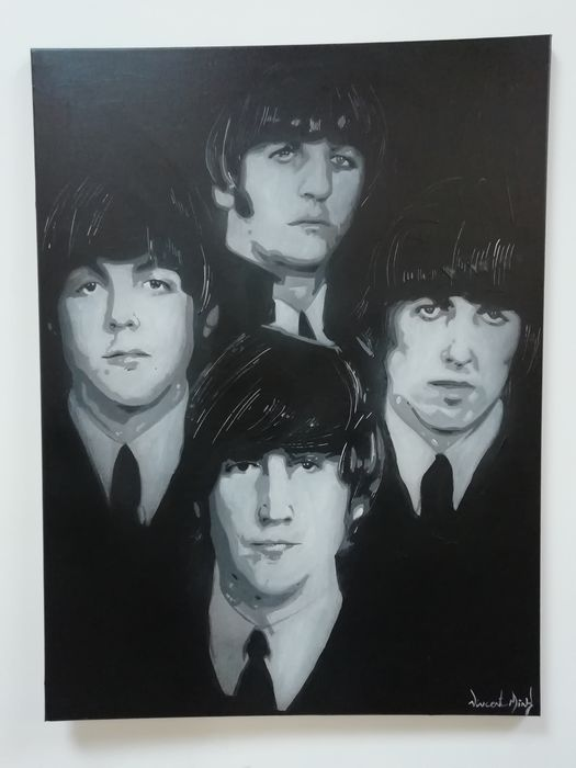 Beatles, Beatles & Related, Vincent Mink - Artwork/ Painting, Acrylic on canvas on wooden frame-Unica-signed by painter, Artwork / painting - 2019/2019