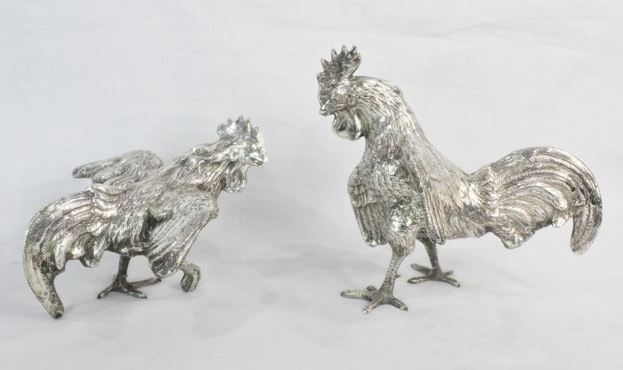 Gorgeous and big pair of fighting roosters - solid silver - 1.572gr - .925 silver - Spain - mid 20th century