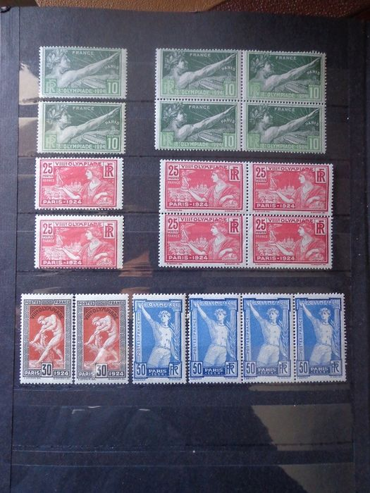 France 1924 - 1924 Paris Olympics, in block and individually, mint** without hinges - Yvert n°183 au 186