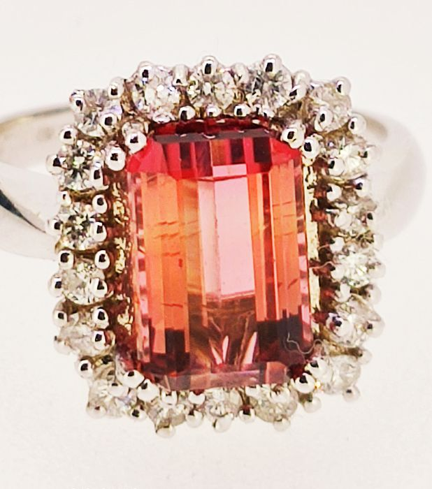 18 quilates Oro blanco - Anillo - 4.00 ct Turmalina rosa VVS - Diamante