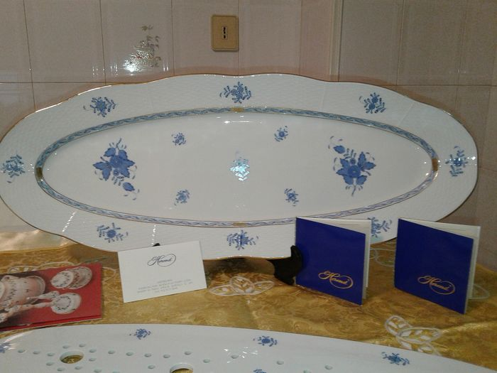 Herend - Apponyi Blue - Oval serving dish for serving fish - with grill (2) - Gilt, Porcelain
