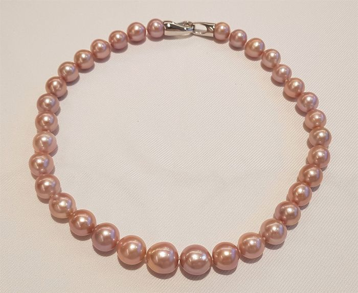 NO RESERVE PRICE - 925 Silver - 11x14mm Edison Pearls - Necklace