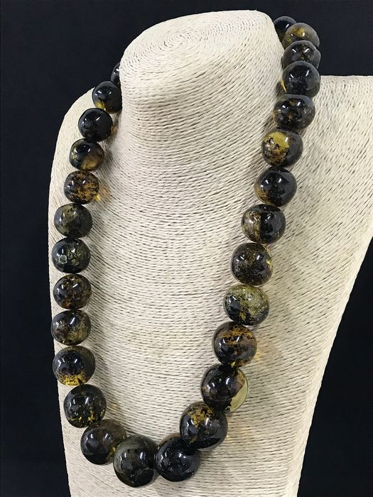 Huge Natural Baltic Amber - Round Beads Necklace - Natural (untreated)