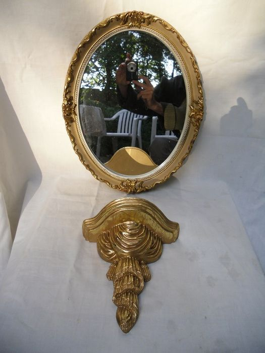 Mirror set with ornate console - Plaster/stone-glass