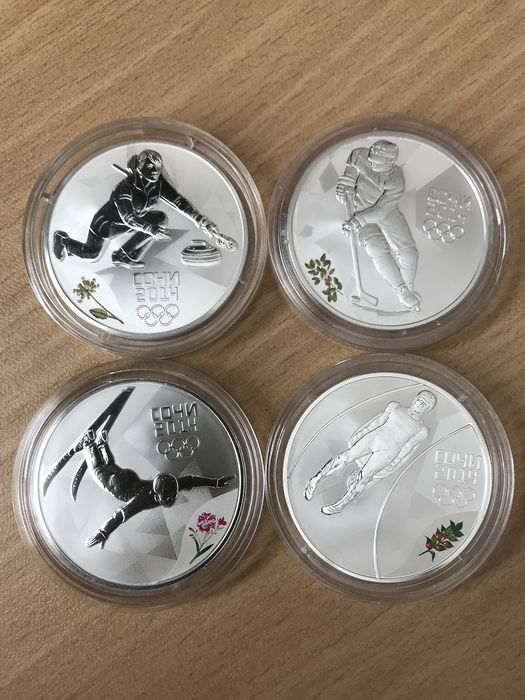 Russia - 3 Rouble 2014 'Olympic games, Sochi 2014' Curling, Icehockey, Sledding, Free style ski jump - Silver