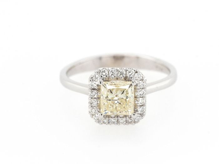 14 karaat Witgoud - Ring - 1.29 ct Diamant - Fancy Light Yellow - Geen minimumprijs