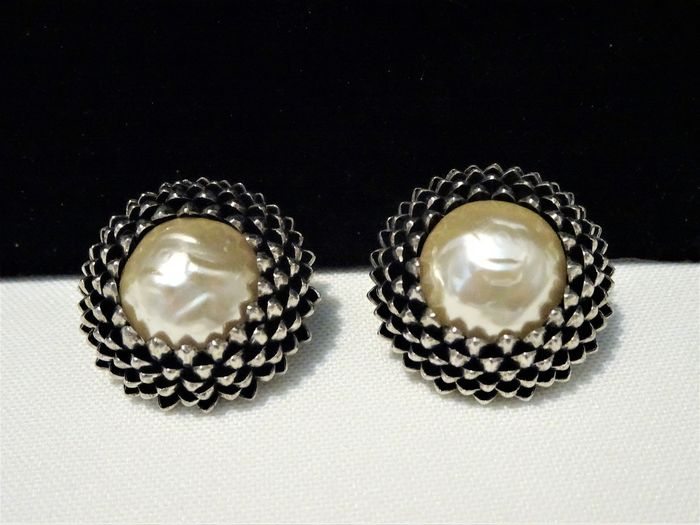 Miriam Haskell -  Rhodium Plated, Faux Pearl - High Domed Clip Earrings