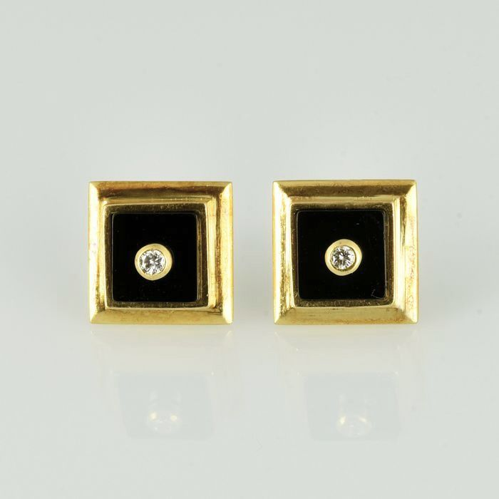 18 kt. Yellow gold - Earrings - 5.00 ct onyx - Diamond