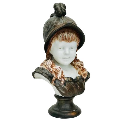 Bust of a young girl with helmet (43.5 cm) - Copper, Porcelain