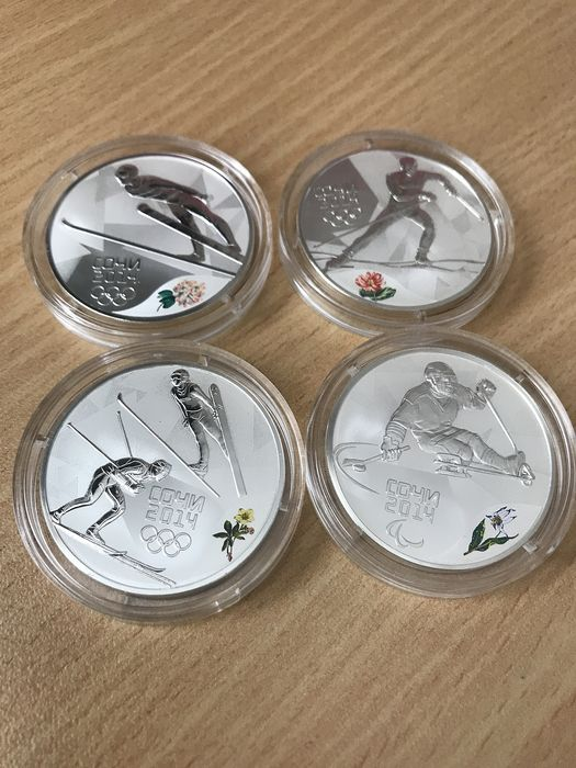 Russia - 3 Rouble 2014 'Olympic games, Sochi 2014' Ski Jumping, Sit Skiing, Cross Country Skiing (4 pieces)  - Silver